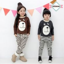 nanakids - Kids Set: Bear Print Brushed-Fleece Lined T-Shirt + Sweatpants