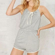 Richcoco - Spaghetti Strap Tipped Playsuit