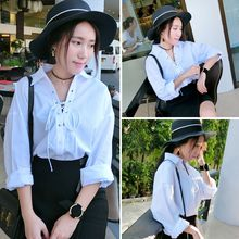 YOSH - Lace Up Drop-Shoulder Blouse