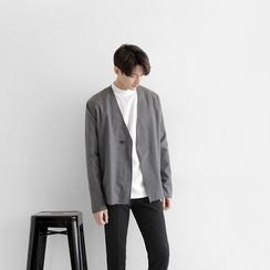 Seoul Homme - Overlock-Stitch One-Button Cardigan