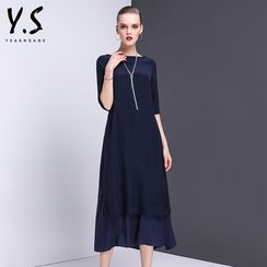 Y:Q - Elbow-Sleeve A-Line Midi Dress