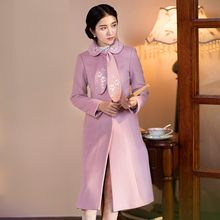 GU ZHI - Tie-Neck Embroidery Coatdress