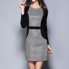 Merald - Glitter Panel Long-Sleeve Dress