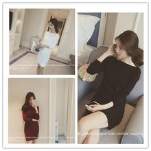 Glen Glam - Long-Sleeve Off Shoulder Knit Dress