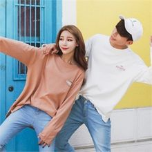 Superstar.i - Couple Slit-Hem Lettering T-Shirt