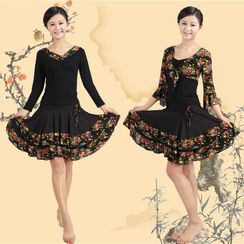 Dancing Queen - Dance Set: Short / Long Sleeve Top + Skirt / Camisole + Cropped Coat + Skirt