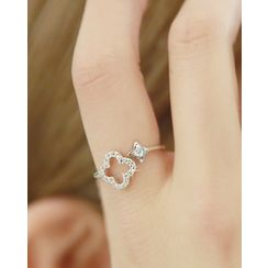 Miss21 Korea - Rhinestone Clover Open Ring
