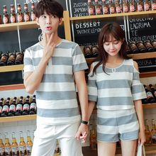 Proemio - Set: Striped Top + Shorts / Short-Sleeve Striped T-Shirt
