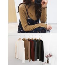 hellopeco - Mock-Neck Long-Sleeve T-Shirt