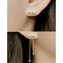 soo n soo - Faux-Pearl Asymmetric Earrings