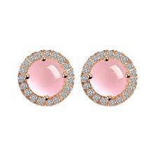 BELEC - 925 Sterling Silver with Pink Crystal and Cubic Zircon Stud Earrings