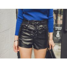 UUZONE - Faux-Leather Lace-Up Shorts