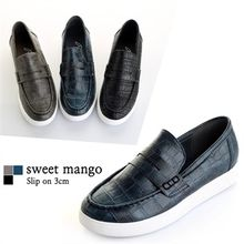 SWEET MANGO - Croc-Grain Penny Loafers