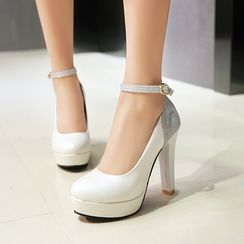 Pastel Pairs - Sequined Ankle Strap Platform Pumps
