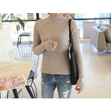 DANI LOVE - High-Neck Rib-Knit Top