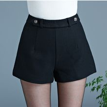 Violette - Plain High Waist Woolen Shorts