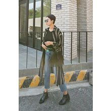 PPGIRL - Slit-Side Color-Block Long Shirt