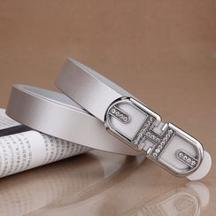 BAIEKU - Embellished Genuine Leather Belt