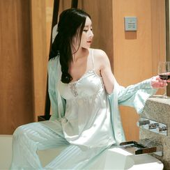 Snorie - Pajama Set: Lace Panel Padded Satin Camisole + Striped Robe + Pants