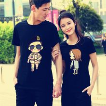 Matcha House - Cartoon Print Short Sleeve Couple Matching T-Shirt / Sweat Shorts