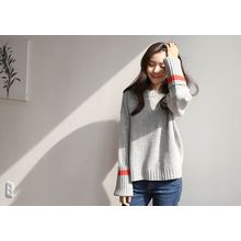 Hello sweety - Contrast-Trim Wool Blend Sweater