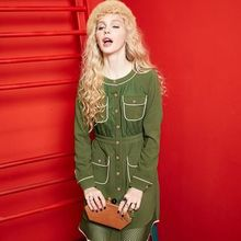 ELF SACK - Long-Sleeve Paneled Pocket-Accent Dress