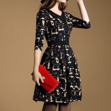 MIUCO - Cat Print 3/4-Sleeve A-Line Dress