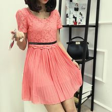 Karoline - Lace Trim Short Sleeve Mini Chiffon Dress