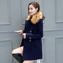 Purple Rose - Faux-Fur Collar Double-Breasted Coat