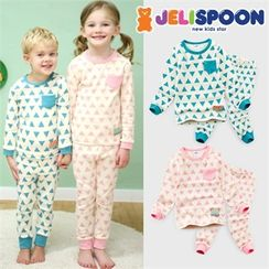 JELISPOON - Pajama Set: Triangle Patterned Top + Pants