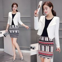 Ekim - Set:  Plain Blazer + Patterned Panel Long-Sleeve Dress