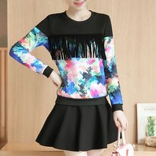 Ekim - Set:  Fringed Floral Print Long-Sleeve T-shirt + A-line Skirt