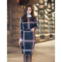 GUMZZI - Set: High-Neck Long Sleeve Check Top + Skirt