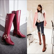 Colorful Shoes - Faux-Leather Buckled Tall Boots