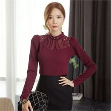 Styleonme - Mock-Neck Lace-Trim Embellished Top