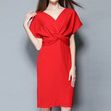 Isadora - V-Neck Knotted Short-Sleeve Dress
