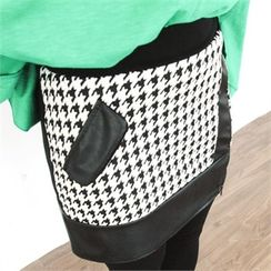 GLAM12 - Inset Check Skirt Leggings