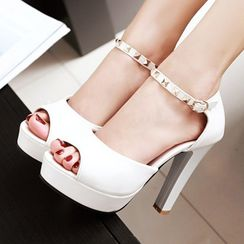 CITTA - Studded Ankle Strap High Heel Sandals
