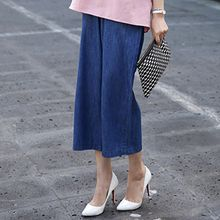 Seoul Fashion - Banded-Waist Wide-Leg Cropped Jeans