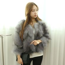 Dodostyle - Collarless Cropped Faux-Fur Jacket