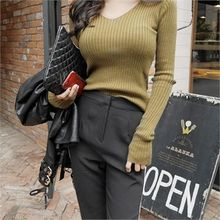 LIPHOP - Thumb-Hole V-Neck Ribbed Knit Top