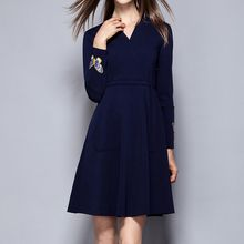 Merald - Embroidered V-neck Long-Sleeve A-line Dress