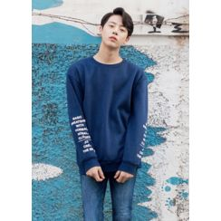 GERIO - Brushed Fleece Lined Lettering Pullover