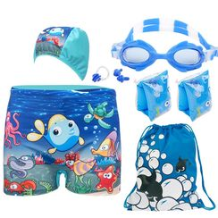 Aqua Wave - Kids Set : Swim Shorts + Swim Cap + Nose Clip + Goggles + Arm Floaties