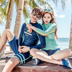 LANYI - Couple Matching Set: Letter Rashguard + Swim Shorts