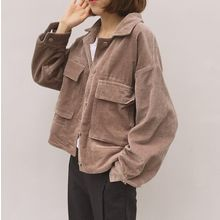 MATO - Pocketed Cropped Corduroy Jacket