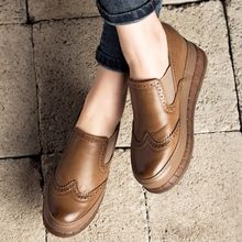 MIAOLV - Platform Hidden Wedge Brogue Slip-Ons