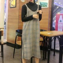 Dute - Plaid Midi Pinafore Dress