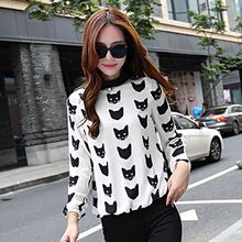 Romantica - Long-Sleeve Cat-Print Blouse