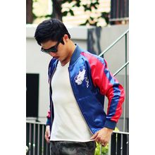 Ohkkage - Color-Block Embroidered Baseball Jacket